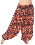 4.5 Yard Full Pantaloon Harem Pants with Floral Print - TANGERINE
