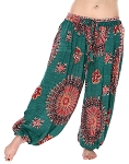 4.5 Yard Full Pantaloon Mandala Harem Pants - TEAL GREEN