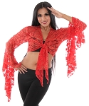 Stretch Lace Tie Top - RED