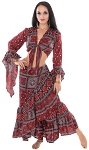 Ajrak Print Tribal Tie Top and Wrap Skirt Set - BURGUNDY