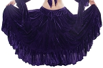 15 Yard Three Tier Crushed Velvet Tribal Skirt - PURPLE