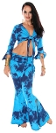 Tie Dye Tribal Fusion Tie Top and Yoga Pants with Attached Overskirt Set - AZURE / BLUE