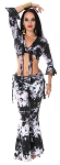 Tie Dye Tribal Fusion Tie Top and Yoga Pants with Attached Overskirt Set - BLACK / WHITE