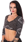 3/4 Sleeve Open Back Assuit Print Tribal Choli Stretch Tie Top - BLACK / SILVER