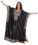Embroidered Satin Kaftan - BLACK