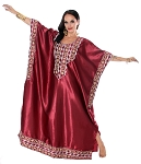 Embroidered Satin Kaftan - BURGUNDY