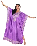 Embroidered Satin Kaftan - PURPLE