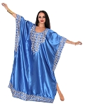 Embroidered Satin Kaftan - ROYAL BLUE
