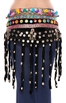 Afghani Tribal Belt with Shisha Mirrors, Velvet Fringe, Shells, and Kuchi Pendants