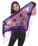 Burnout Velvet Floral Shawl Scarf with Fringe - PURPLE / GREEN / RED