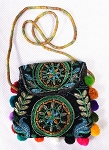 Metallic Embroidered Sagat / Zill Bag with Mini Pom Poms - ASSORTED