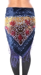 Burnout Velvet Floral Shawl Scarf with Fringe - ROYAL BLUE / RED / YELLOW