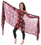 Jaipur Batik Tie Dye Veil with Shisha Mirrors and Shells - MAROON