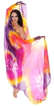 Spiral Tie-Dye Silk Bellydance Veil - PURPLE / YELLOW / FUCHSIA