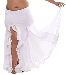 Egyptian Style Belly Dance Skirt with Ruffle Side Slit in