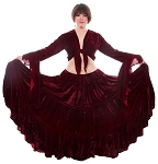 Crushed Velvet Gypsy Tribal Skirt and Choli Set - BURGUNDY