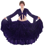 Crushed Velvet Gypsy Tribal Skirt and Choli Set - PURPLE