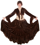 Crushed Velvet Gypsy Tribal Skirt and Choli Set - CHOCOLATE