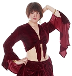 Crushed Velvet Gypsy Tribal Choli Tie Top - BURGUNDY