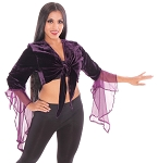 Crushed Velvet Gypsy Tribal Choli Tie Top - PURPLE