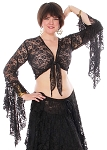 Stretch Lace Tie Top - BLACK