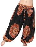 4.5 Yard Full Pantaloon Mandala Harem Pants - BLACK