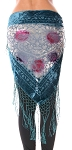 Burnout Velvet Floral Shawl Scarf with Fringe - TEAL BLUE / CREAM / FUCHSIA