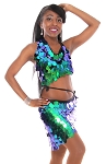 Paillette Costume Bra and Hip Wrap Set - IRIDESCENT GREEN BLUE