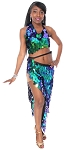 Paillette Costume Bra and Long Wrap Skirt Set - IRIDESCENT GREEN BLUE