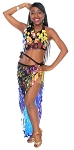 Paillette Costume Bra and Long Wrap Skirt Set - IRIDESCENT BLACK OPAL