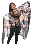 Oversized Floral Print Silk Shawl - BLACK