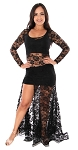 2-Piece Lace Dance Costume / Practice Set - BLACK