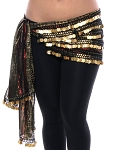 Metallic Gold Lurex Chiffon Hip Scarf with 5 Rows of Coins - BLACK / GOLD / RED