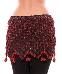 Beaded Crochet Hip Scarf - BLACK / RED