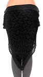 Burnout Velvet Floral Pattern Shawl with Beaded Crochet Trim - BLACK