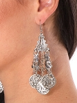 Egyptian Metal Coin Earrings - SILVER