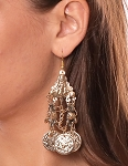 Egyptian Metal Coin Earrings - GOLD