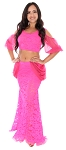 Lace and Chiffon Dance Costume / Practice Set - HOT PINK