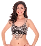 Egyptian Coin Bra Cover with Crescent Pendants and Chain Drapes - SILVER