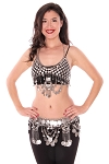 Egyptian Coin Bra Cover and Belt Set with Crescent Pendants and Chain Drapes - SILVER
