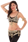 Egyptian Coin Bra Cover and Belt Set with Crescent Pendants and Chain Drapes - GOLD