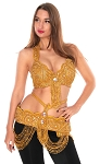 Egyptian Classic Style Bedlah Bra and Belt Set - GOLD