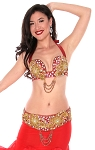 2-Piece Egyptian Beads and Rhinestones Bedlah Bra and Belt Set - METALLIC RED / GOLD