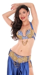 2-Piece Egyptian Beads and Rhinestones Bedlah Bra and Belt Set - METALLIC DEEP BLUE / GOLD