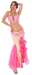 Egyptian Beads and Rhinestones Bra and Skirt Set - HOT PINK / SATINY BEIGE