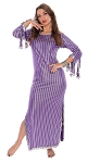 Egyptian Striped Beaded Saiidi Dress with Paillettes - PURPLE / SILVER