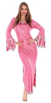 Egyptian Striped Beaded Saiidi Dress with Paillettes - ROSE PINK / SILVER