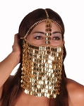 Sequin Chain Full Face Veil  - GOLD