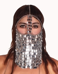 Sequin Chain Full Face Veil  - SILVER