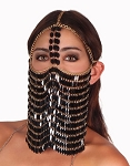 Sequin Chain Full Face Veil  - BLACK